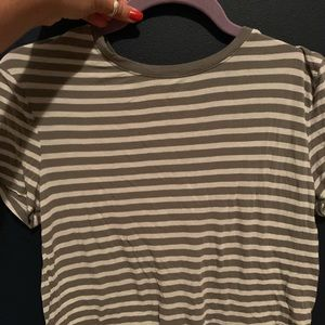 green and grey striped crop shirt